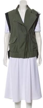 Alexander Wang Leather-Trimmed Utility Vest Olive Leather-Trimmed Utility Vest