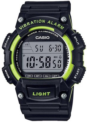Casio Men's Sport Digital Watch with Vibration Alarm, Black/Green