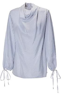 Loewe Cowlneck Striped Blouse
