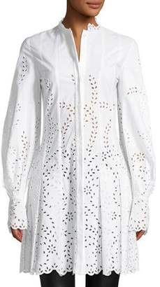 Oscar de la Renta Long-Sleeve Button-Front Eyelet Shirtdress