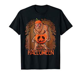 Halloween Pumpkin Bigfoot T Shirt Gift for Kids Boys Girls