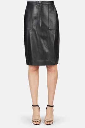 Altuzarra Pollard Side Slit Leather Skirt - Black