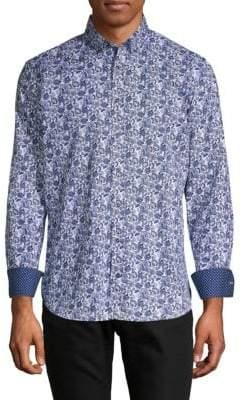 Bugatchi Printed Long-Sleeve Button-Down Shirt