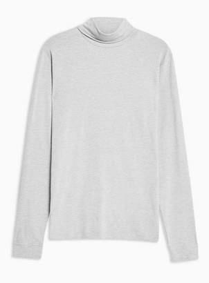 Topman Mens Grey Long Sleeve Roll Neck T-Shirt