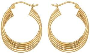Lord & Taylor 14Kt. Yellow Gold Four Row Hoop Earrings