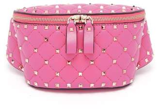 Valentino Rockstud Spike Quilted Leather Belt Bag - Womens - Pink