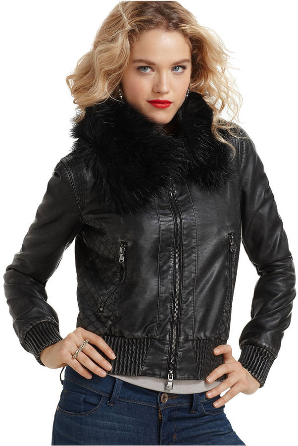 GUESS? Jacket, Long Sleeve Kantha Zip Pocket Cropped Motorcycle Faux Fur