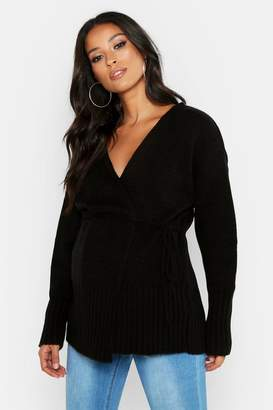 boohoo Maternity Wrap Front Cardigan