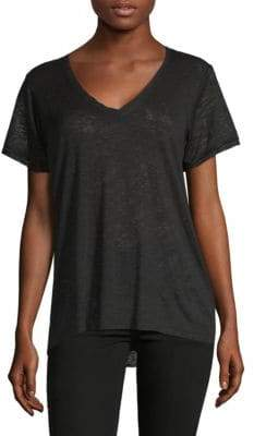 Satin Trim V-Neck T-Shirt