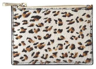 Aspinal of London Small Essential Flat Pouch In Leopard Haircalf