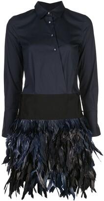 Sara Roka feather embellished shirt dress
