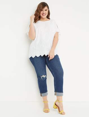 Lane Bryant High-Rise Straight Crop Jean - Destructed Dark Wash