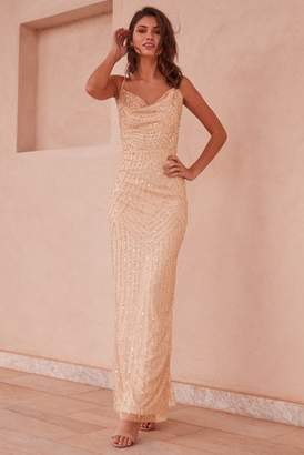 cd548e7275c Next Lipsy Olivia Hand Embellished Sequin Cowl Neck Maxi Dress - 10
