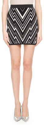 Balmain Chevron-Knit Fitted Mini Skirt
