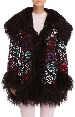 Giamba Embroidered Faux Fur Coat