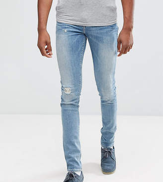 Asos TALL Super Skinny Jeans With Abrasions In Mid Wash Blue