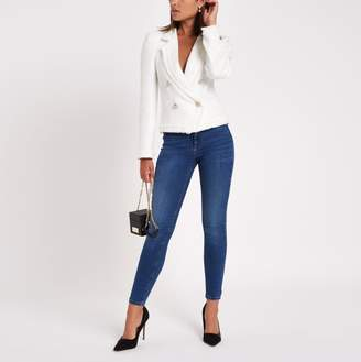 River Island Womens White boucle double-breasted jacket