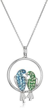 Swarovski Sterling Silver Aquamarine Colored and Peridot Colored Crystal Bird Pendant Necklace