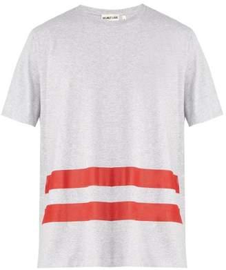 Helmut Lang Stripe Print Cotton T Shirt - Mens - Grey