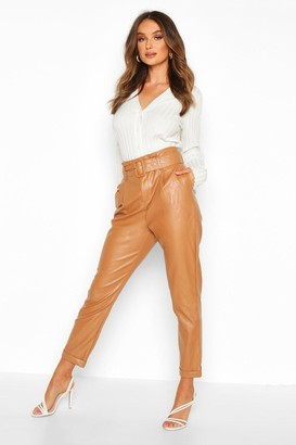 boohoo Leather Look Belted Tapered Trouser