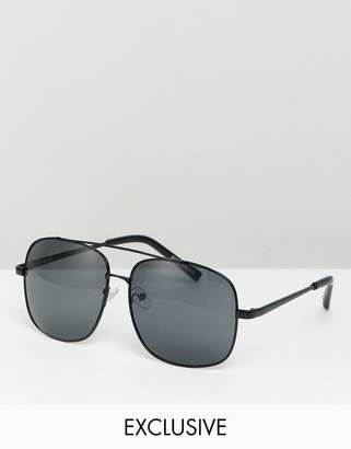 Reclaimed Vintage Inspired Aviator Sunglasses In Black