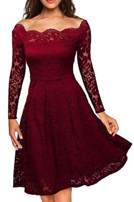 Suvotimo Women Elegant Off Shoulder Long Sleeve Lace Fit&Flare Skater Bridesmaid Party Midi Dress XS