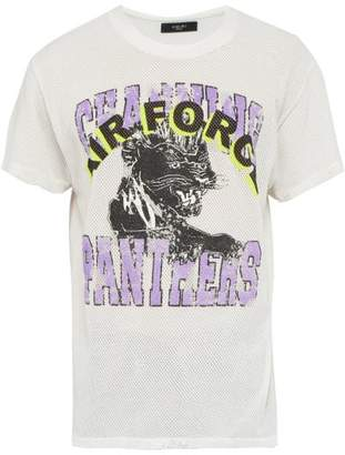 Amiri Channing Panthers Print Mesh T Shirt - Mens - White