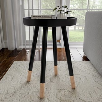 Mid-Century MODERN End Table Round Wooden Contemporary Decor by Lavish Home (Black)