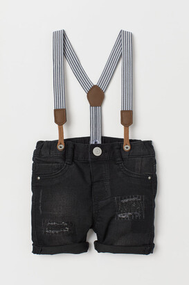 H&M Denim shorts with braces