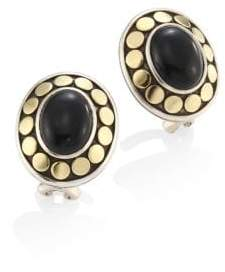 John Hardy Dot Oval Black Onyx & 18K Yellow Gold Stud Earrings