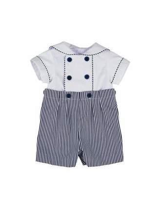 Florence Eiseman Stripe Fine-Wale Pique Button-On Shortall, Size 3-24 Months