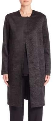 Natori Crinkle Collarless Coat