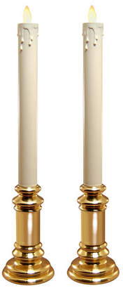 Jh Specialties Inc/lumabase Lumabase Set of 2 Battery Operated LED Taper Candles with Moving Flame and Holders