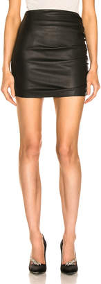 Sprwmn Shirred Mini Skirt in Black   FWRD
