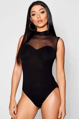 boohoo Sleeveless Mesh Panelled Bodysuit