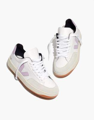 Madewell Veja V-12 Mesh Sneakers in White and Lilac