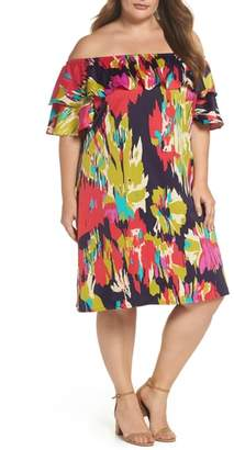 London Times Double Ruffle Off the Shoulder Dress