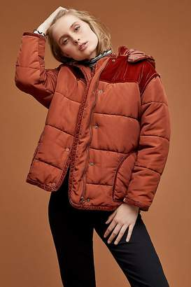 Maison Scotch Velvet-Trim Puffer Jacket