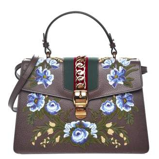 Gucci Sylvie Top Handle Web Embroidered Medium Brown/Green/Blue