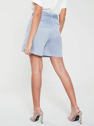 NATIVE YOUTH Frida Paperbag Waist Shorts W/ Pleats