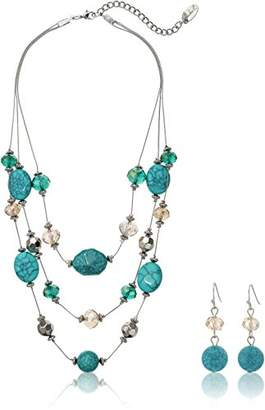 Fashion Three-Row Mixed Bead Faux Turquois Illusion Necklace Jewelry Set