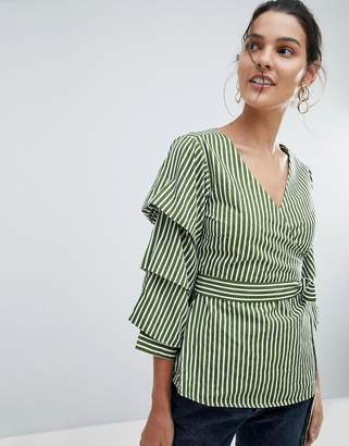 Vila Stripe Wrap Top