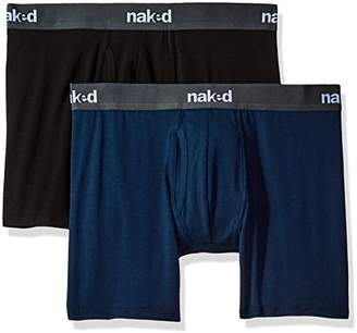 Naked Men's Stretch Cotton Boxer Briefs 2 Pack