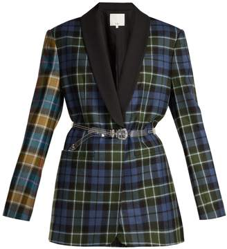 Tibi Single-breasted plaid wool blazer