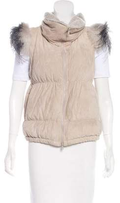 Brunello Cucinelli Fur-Accented Suede Vest