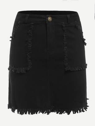 Shein Solid Fringe Denim Skirt