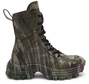 Miu Miu Women's Camo-Print Leather Combat Boots