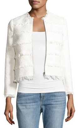 Rebecca Taylor Textured Tweed Jacket with Fringe, White $450 thestylecure.com