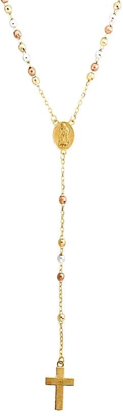 Latin Treasures 10k Gold-Over-Silver and Sterling Silver Tri-Tone Rosary Necklace