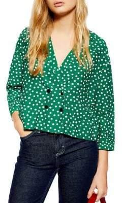 Topshop PETITE Polka Dot Button Pyjama Shirt
